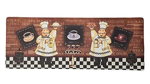 ReCYCO - Alfombra de cocina antideslizante y resistente al agua, fácil de limpiar, 44 x 120 cm, PVC anticansancio (2 chefs)