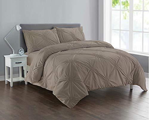 Linen Zone Fancy Pintuck Sunflower Duvet Cover Set Easy Care (Beige, Double)