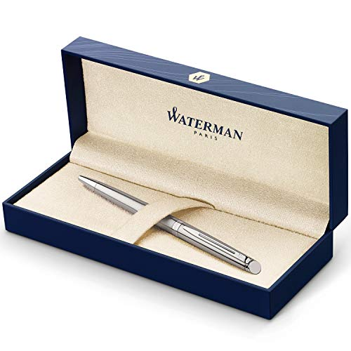 Waterman Hémisphère Kugelschreiber | Edelstahl mit Chromzierteile | Mittlere Spitze | Blaue Tinte | Geschenkbox