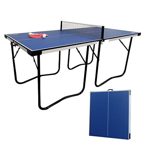 AIPINQI 6ft Table Tennis Table, Foldable Portable Strong MDF Plate Ping Pong Table Portable Easy Quickly Installation Indoor Game Table for Indoor and Outdoor, Blue