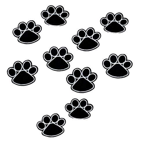Fablcrew 10 Stück Aufnäher bestickt zum Aufbügeln in Form einer Hundepfote selbstklebend Stoff bestickt DIY für T-Shirt, Jeans, Hut, Kleidung, Tasche