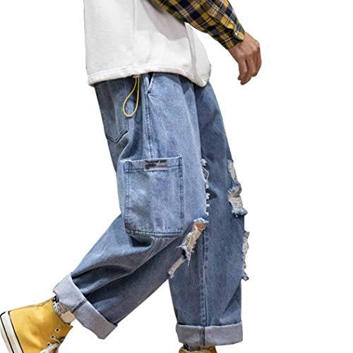 Feidaeu Pantaloni Casual da Uomo Primavera Jeans Strappati retrò Pantaloni Larghi Comodi e Resistenti all'Usura a Gamba Larga Larghi e Resistenti all'Usura