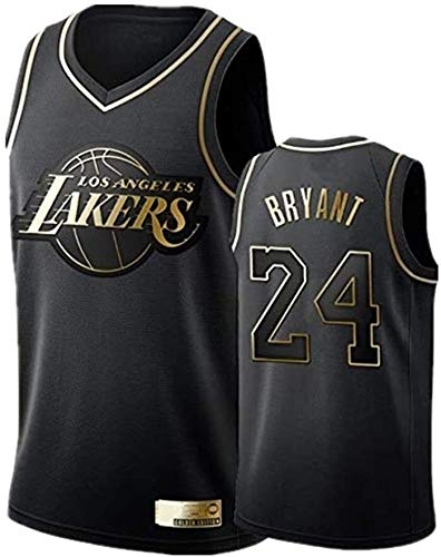 Sports Basketball Jersey # 24 Kobe Bean Bryant Los Angeles Lakers Jerseys Negro Oro Transpirable Malla Transpirable Resistente Uniforme Fitness Deportes Competición Chaleco (Size : Large)