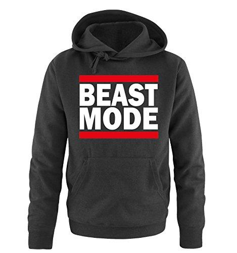 Comedy Shirts - Beast Mode - Herren Hoodie - Schwarz/Weiss-Rot Gr. L