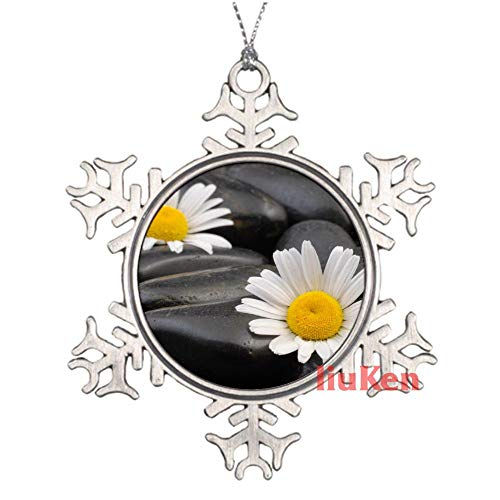 happygoluck1y - Flor de manzanilla en piedra de peltre copo de nieve...