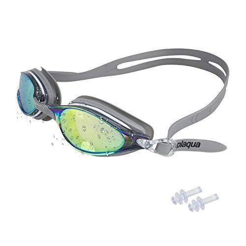 Splaqua Gafas de natación–Anti Fugas Espejo Lentes con protección UV–Tapones para los oídos & Incluye Funda–Talla única, Gris
