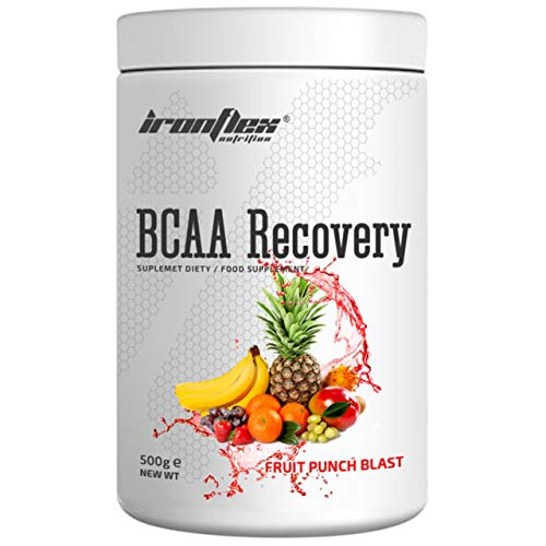 IronFlex BCAA Recovery - 1 Pack - Branched Chain Amino Acids in Powder - Muscle Regeneration - Anticatabolic - with Glutamine (Fruit Punch Blast, 500g)