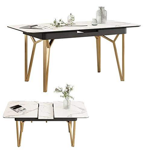 RJMOLU Mesa de Comedor Plegable de extensión de la Mesa de Comedor, 4-8 Personas retráctiles rectangulares multifunción Mesa para pequeños Espacios, mármol