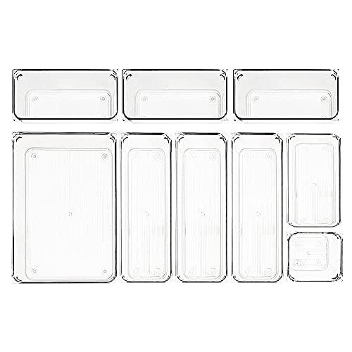 MUHOO 9 Stücke Getrennte Schubladen Ordnungssystem, Antirutscher Schubladeneinsatz Schublade Organizer Aufbewahrungsboxen aus transparentem Kunststoff für Büro, Badezimmer, Schminktisch, Schreibtisch