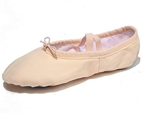 X2X Tela Scarpette da Ballerina Classica Split Scarpe da Danza Indoor Ginnastica Ritmica Pilates Yoga per Bambini e Adulti di Diverse Dimensioni (EU25, Rosa)