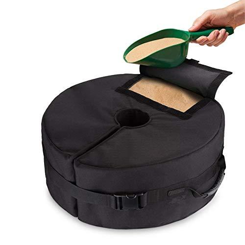 GLJYG Paraguas redondo Base Weight Bag con bolsas de arena extraíbles de gran apertura y 2 asas para cualquier soporte de sombrilla al aire libre.