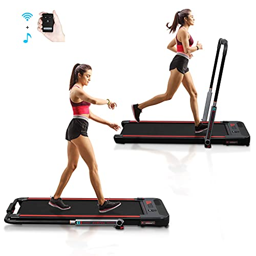 Murtisol 2 in 1 Folding Treadmill, 2.25HP Under Desk Electric Treadmill, Installation-Free with APP, Remote Control and LED Display, Portable Walking Machine for Home, Office & Gym, Black & Silver
