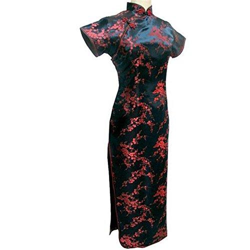 Profitd Mujer Vestidos Vestido chino tradicional rojo y negro Satén largo Cheongsam Qipao flor