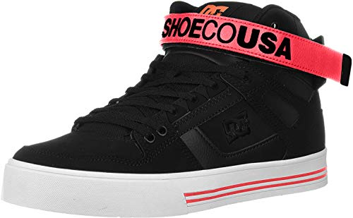 DC Women's Pure HIGH-TOP V Skate Shoe, Black/Hot Pink, 5.5 M US