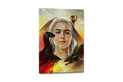 Daenerys Targaryen Game of Thrones Art Print TV Poster, Canvas Wall Art Print, House Targaryen, Mother Of Dragons, HBO, Dracarys, Ice And Fire, Unique Gift (11'W x 17'H, Daenerys Targaryen)