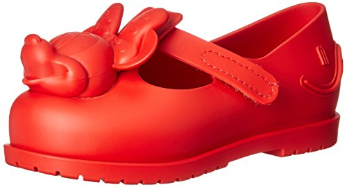 mini melissa Baby-Girl's Mini Classic Mickey and Friends Mary Jane Flat, red, 10 Medium US Toddler