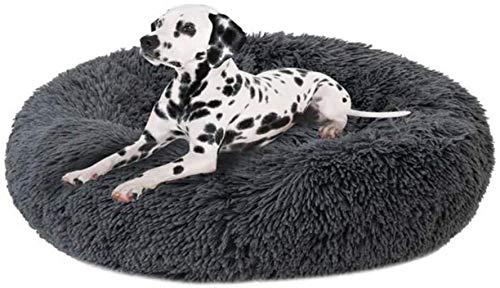 ZGQ Hundebett Hundematratze Kennel Pet Bolster-Bett-Katze-Kissen-Bett warm Comfort Runde Nisthöhle Abnehmbarer waschbarer Donut Cuddler Hund Katze Sofa Super Soft Kennel für große Hunde,Grey.