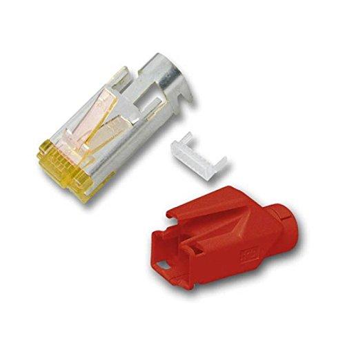 BIGtec 10 x RJ45 Stecker TM31 Hirose CAT.6a rot Crimpstecker RJ-45 Modular Plug Ethernet LAN Kabel Steckverbinder Netzwerkstecker geschirmt CAT 6a