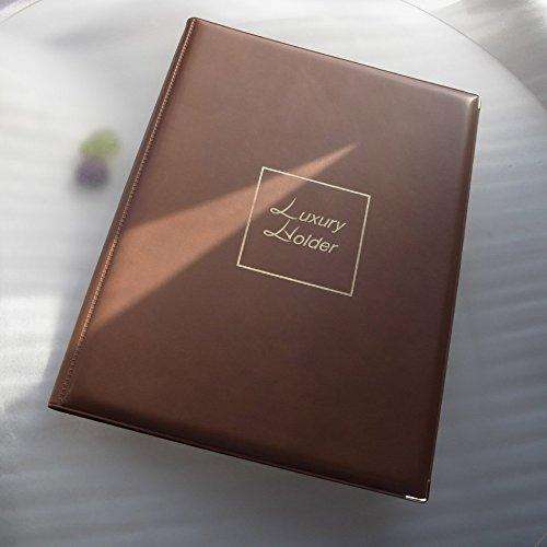 20ポケットで40枚収納 【神戸御影 moon design 高能率A4ファイル、本金仕上げ金具つき】(ゴールドブラウン表紙、中袋透明)4321