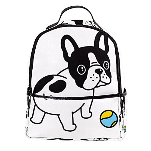 ATOMO Casual Mini mochila Bulldog con pelota de tenis de dibujos animados PU cuero de viaje bolsas de compras Daypacks
