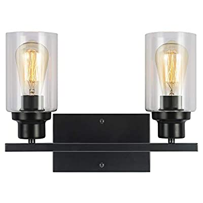 2-Light Industrial Bathroom Vanity Light Black Indoor Vintage Wall Light Fixtures with Clear Glass for Foyer Bedroom Living Room