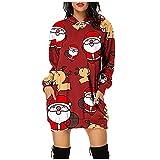 Vestido de manga larga con estampado de Navidad para mujer, manga larga, casual, suelto, sudaderas, rosso, M