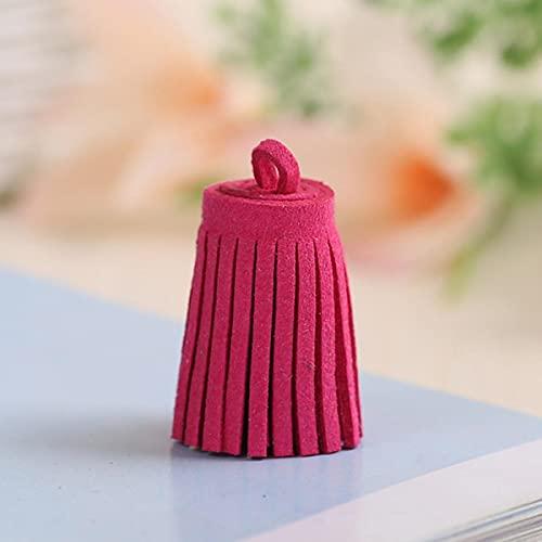 10 Uds 3 cm Mini borlas de Cuero Vintage Borla de Gamuza borlas de teléfono para Manualidades DIY hallazgos de joyería Pendientes Pendientes Accesorios-Rosa Rojo