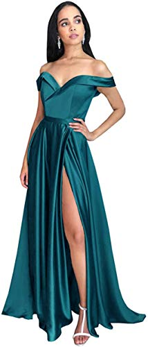 PrettyTatum Plus Size A Line Satin Off The Shoulder Evening Dress Floor Length Prom Dress with Pockets Teal Size Customsize