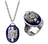 FURONGWANG 2 Pieces Unisex Vampire Diaries Daylight Walking Signet Damon's Ring and Necklace for Fans Movie Jewelry Cosplay for Boys Girls (7)