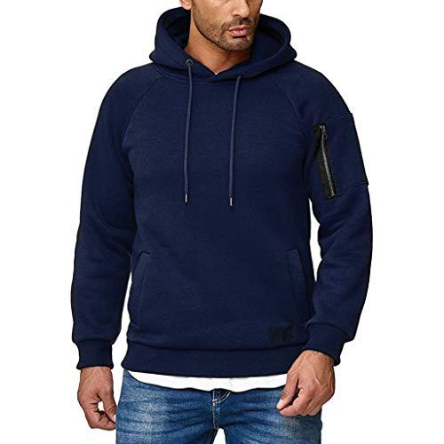 Xmiral Herren Sweatshirt Top Herbst Langarm Plaid Hoodie Mit Kapuze T-Shirt Outwear(L,Kaffee)