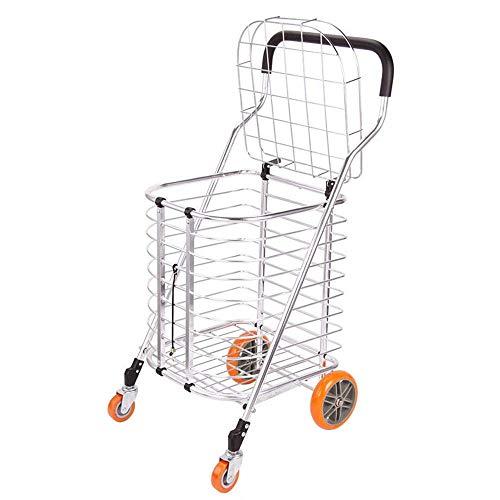 KEKEYANG Compras Portátil Plegable Cesta de Compra - 4 Ruedas Pueden ser utilizados en supermercados Tiendas de ultramarinos días de Campo Cesta (Color: Plata, tamaño: 44 * 39 * 86.5CM) Carro
