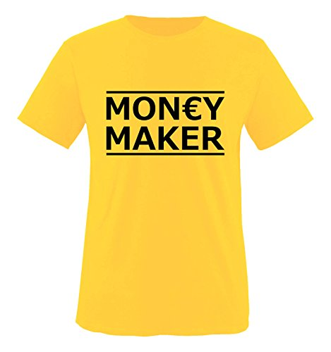 Comedy Shirts - Money Maker - Herren T-Shirt - Gelb/Schwarz Gr. XL