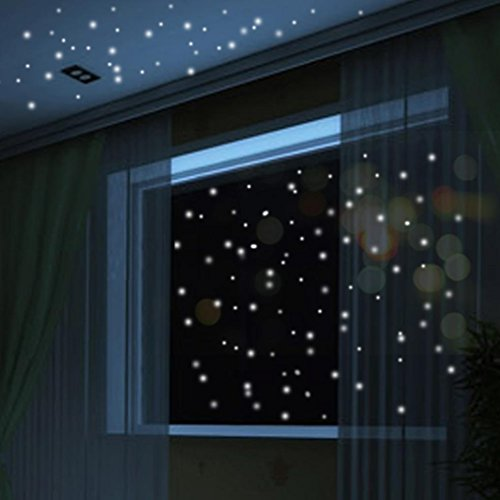 Nesee Round Dot Wall Decals,Glow in The Dark Star Wall Stickers 104Pcs Round Dot Luminous Kids Room Decor (White)