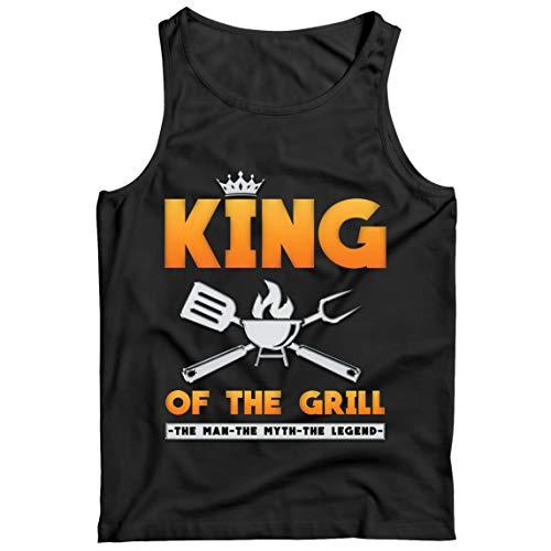 lepni.me Camisetas de Tirantes para Hombre El Rey de la Parrilla Maestro de la Barbacoa Chef El Hombre El Mito La Leyenda (M Negro Multicolor)