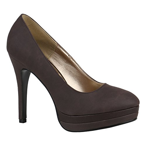 Damen Pumps High Heels Plateaupumps Lack Stiletto Elegante Schuhe 157165 Braun Camiri 37 Flandell