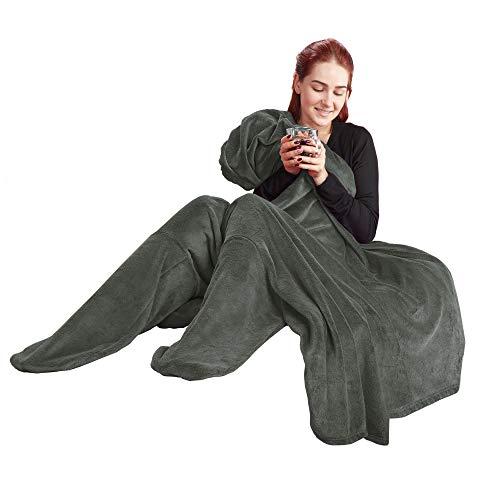 Preisvergleich Produktbild CelinaTex Footy Socken Kuscheldecke XL 170 x 200 cm grau Coral Fleece Sockendecke Mikrofaser Fußwärmer Decke