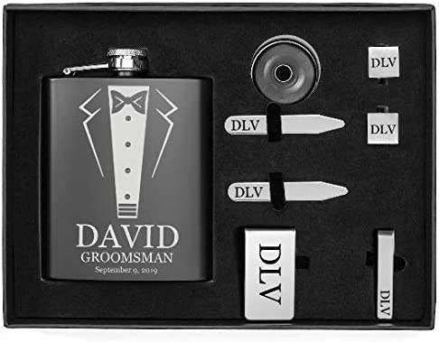 Engraved 7oz Flask, Funnel, Money Clip, Tie Bar Clip, Square Cuff Links, Collar Stays Set Gift Box Set Wedding Tuxedo Personalized