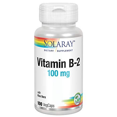 Solaray Vitamin B-2 Riboflavin 100 mg with Aloe Vera | Healthy Energy Metabolism, Skin, Hair & Nails | 100 CT