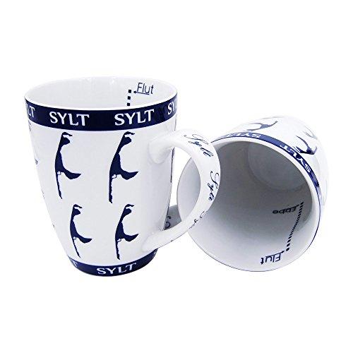 osters muschel-sammler-shop Kaffeebecher/Teebecher/blau-Weiss/Syltmotiv/Motiv Sylt/Sylter Becher/Strandtasse-Becher, All Over