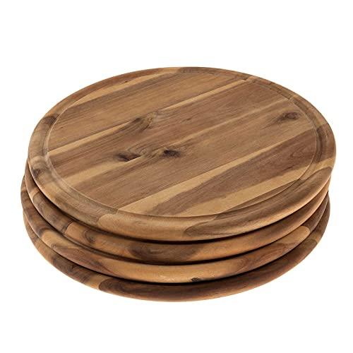 SIDCO Fleischteller Akazie 4 x Holzteller Vesperteller Brotzeitbrett Schneidebrett Ø 30 cm