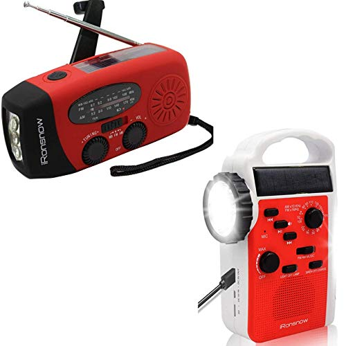 iRonsnow Real NOAA Alert Weather Radio, Solar Crank Emergency AM/FM/SW/NOAA Radio, TF Card Speaker, 5 LEDs Flashlight, 8 Headlamps, 2300mAh /1000mAh Power Bank Phone Charge