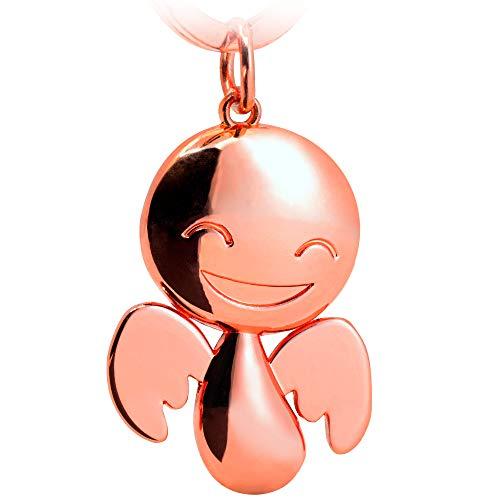 FABACH Schutzengel Schlüsselanhänger Happy - Niedlicher Engel Anhänger aus Metall in glänzendem Roségold - Geschenk Glücksbringer Auto Führerschein - Fahr vorsichtig