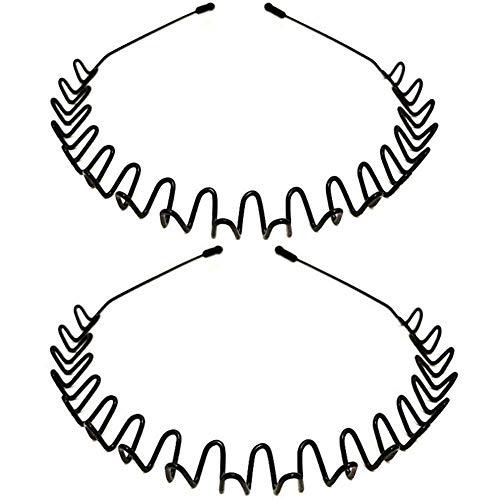 Ealicere Hair Hoop Black Metal Headwear Men's Non-slip Sports Headwear, Women's Beauty Headwear, Unisex Fashion Elastic Wave-shaped Metal Spring Headwear, Two-piece Hairwear with Tooth Comb