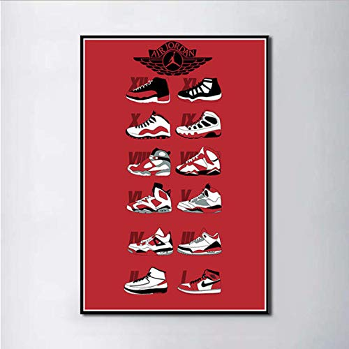 MZCYL Leinwand Malerei Sneaker Michael Jordan Schuhe Mode Aj Geschichte Air Max Wandkunst Malerei Druck Auf Seide Leinwand Poster Dekoration 40X60 cm Ohne Farme