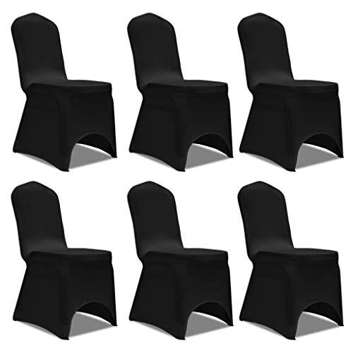FAMIROSA Set de 6 Fundas Ajustadas para sillas, Color Negro
