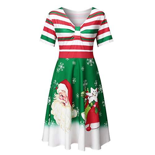 LILIHOT Damen Vintage Festliche Kleider Weihnachten Gestreifte A-Linie Kleid Elegantes Kurzarm Partykleid Casual Cocktailkleider 50er Petticoat Abendkleider