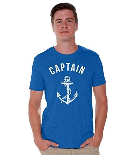 Awkwardstyles Captain T-Shirt White Anchor Summer Beach Party Shirt + Bookmark L Blue