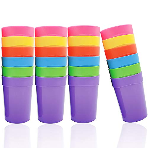 24 PCS 13.5OZ/400ml Unbreakable Plastic Tumblers,Kids Plastic Cups,Plastic Kids Juice Tumblers in 6 Assorted Colors for Children and Adults,No BPA