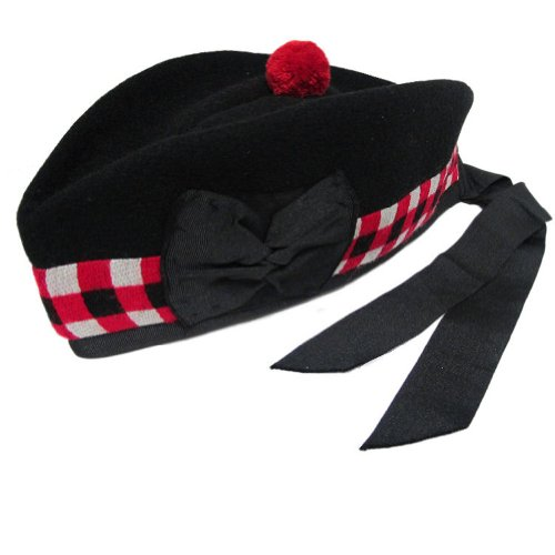 Kaybros Tartanista - Herren Glengarry-Mütze - traditionell schottisch - Schwarz & rot-weiß kariert am Rand - 59 cm