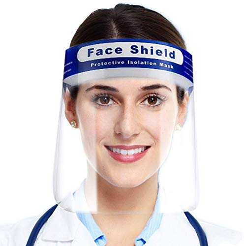 Medicare Logistics UK 10 Pack Visor Face Shield For Glasses Wearers Wide Full Face Lightweight Transparent Clear Face Shields For Men Women Unisex - Bulk B2B Discounts: 10 Face Shields Per Pack